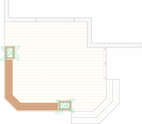 Top view of single level deck with benches and planters (#1RCCW7001).