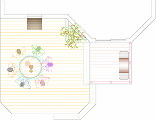 Overhead view of medium size, 2-level, mid height deck with a planter box.