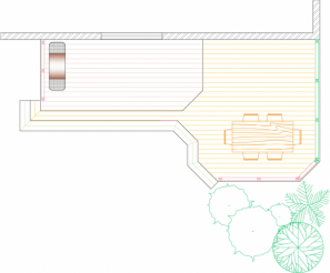 Overhead view of medium size, low, 2-level deck with privacy screen (#2R7331).
