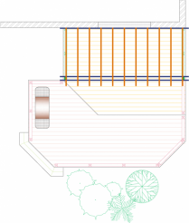 Overhead view of medium size, two level deck with privacy screens and a pergola.