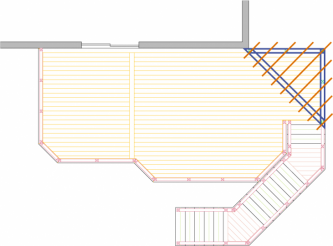 Overhead view of large, high, single level deck with pergola and privacy screen.