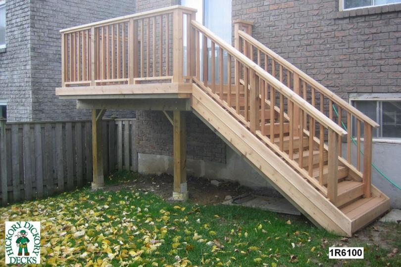 This deck plan is for a small single level deck or landing suitable