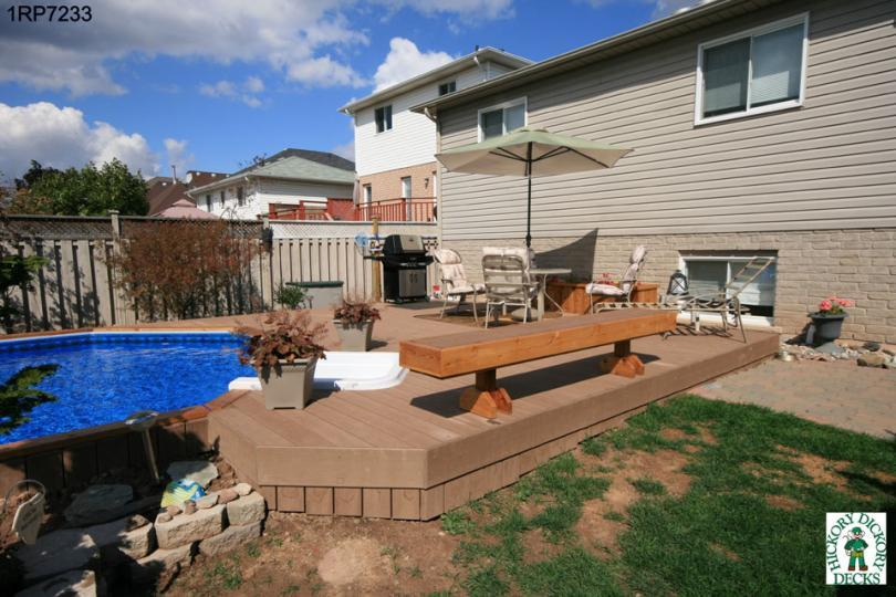 Large On Ground Pool Deck With A Planter And Bench 1RP7233