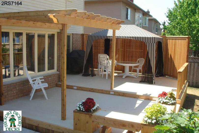 ... low, 2-level, spa deck plan with a pergola, benches