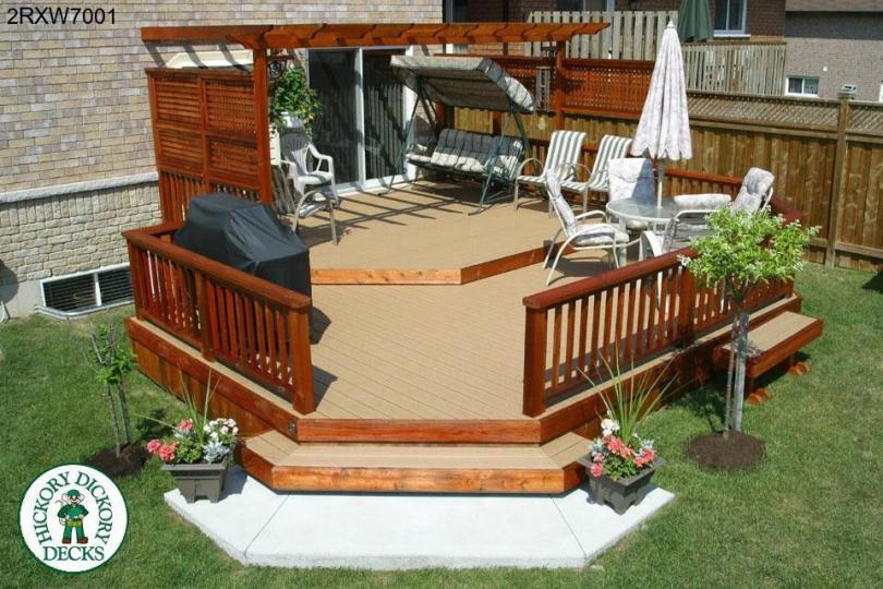 ... two level deck with privacy screens and a pergola (#2RXW7001) - Pergola DIY Deck Plans