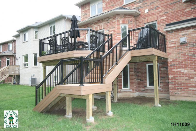 deck plan is for a medium size high single level deck with stairs